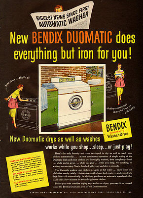 1950s vintage appliance ad, BENDIX Washer Dryer, Home Laundramat- 040813
