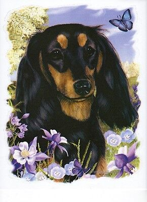 """Dachshund, Longhair Black-Tan with Flowers -One 18x22"""" Panel to Sew.Pic is 9x11"""", used for sale  Forest City"""