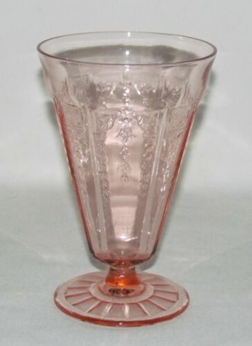 Hocking Glass Co PRINCESS Pink Footed Water Tumbler