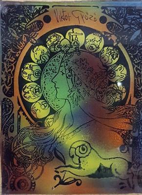 Viktor Győző - Acrylic on Glass with Zodiac Sign Aries 60's - Vintage