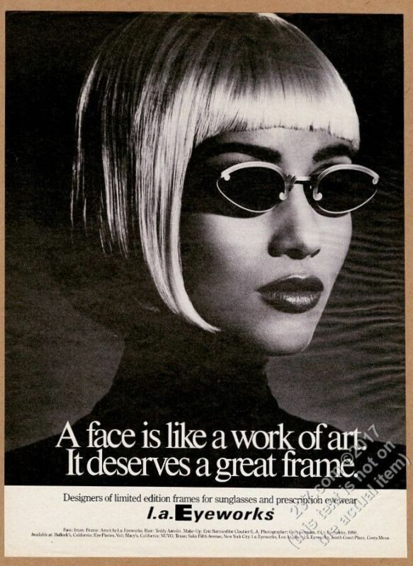 1991 Iman photo by Greg Gorman L.A. Eyeworks sunglasses vintage print ad
