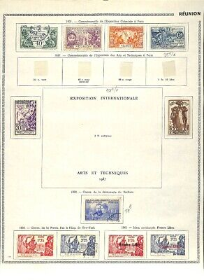 [OP7634] French Colonies lot of stamps on 12 pages