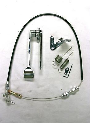 (Street Rod Chrome Spoon Gas Pedal + Black Throttle Cable + Bracket & Spring Kit)