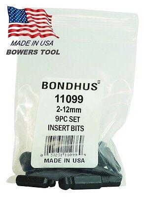 Bondhus 9pc 1/4in Shank Hex Insert Bit ...