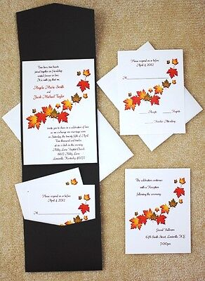 100 Personalized Fall Autumn Leaves Ivory Chocolate Pocket Wedding Invitations -