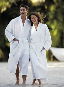 WAFFLE WEAVE WHITE HOTEL QUALITY BATHROBE DRESSING GOWN, FREE TERRY SLIPPERS