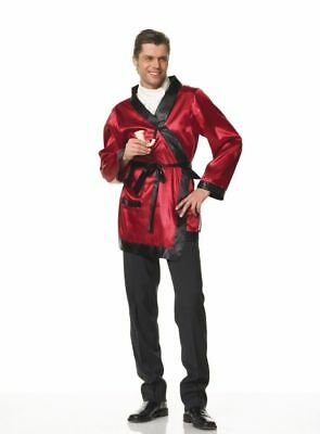 Smoking Jacket Hugh Hefner Bachelor Adult Red Robe Playboy - Hugh Hefner Halloween