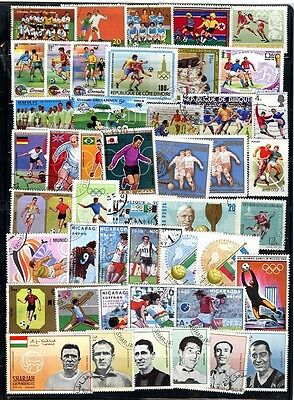 SOCCER/FOOTBALL collection x 46 beautiful  LARGE USED STAMPS, NICARAGUA, etc.