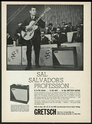1961 Gretsch electric Jazz guitar Sal Salvador photo vintage print ad Gretsch Jazz Guitar