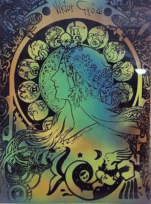 Viktor Győző - Acrylic on Glass with Zodiac Sign Aquarium 60's Vintage