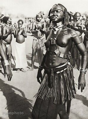 1934 Vintage 11x14 AFRICA Native Folk Tribe Sudanese Dancer Woman ~ E. O. HOPPE