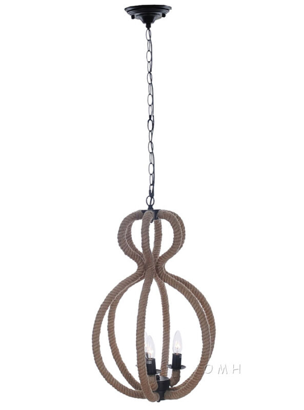 "Nautical Rope Pendant Hanging Lamp Ceiling Fixture Light 47.5"" Three Bulbs New"