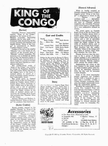 Original 1959 KING OF THE KONGO movie pressbook - Buster Crabbe as Thunda!
