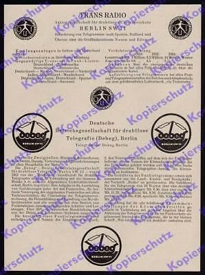 Reklame Trans Radio Debeg Funk Telegramme Telegraphie Fernmelde Reichspost 1925