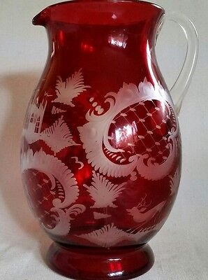 Vintage Ruby Red Cut to Clear Glass EGERMANN Bohemian Crystal Pitcher Engraved