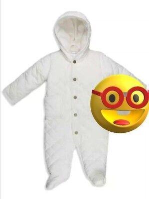 Polo Ralph Lauren Baby Girl's Quilted SnowSuit Bunting Size 3 months Ivory