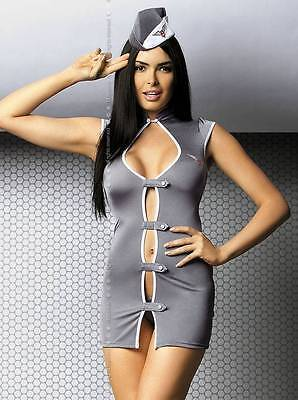 Sexy Stewardess Kostüm Minikleid Hostess Flugbegleiterin Strip Erotikwäsche S-XL