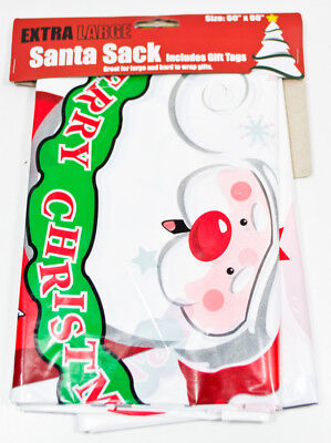 Holiday Extra LARGE Cute Santa Sack Decorative Plastic Gift Bag JUMBO - NEW
