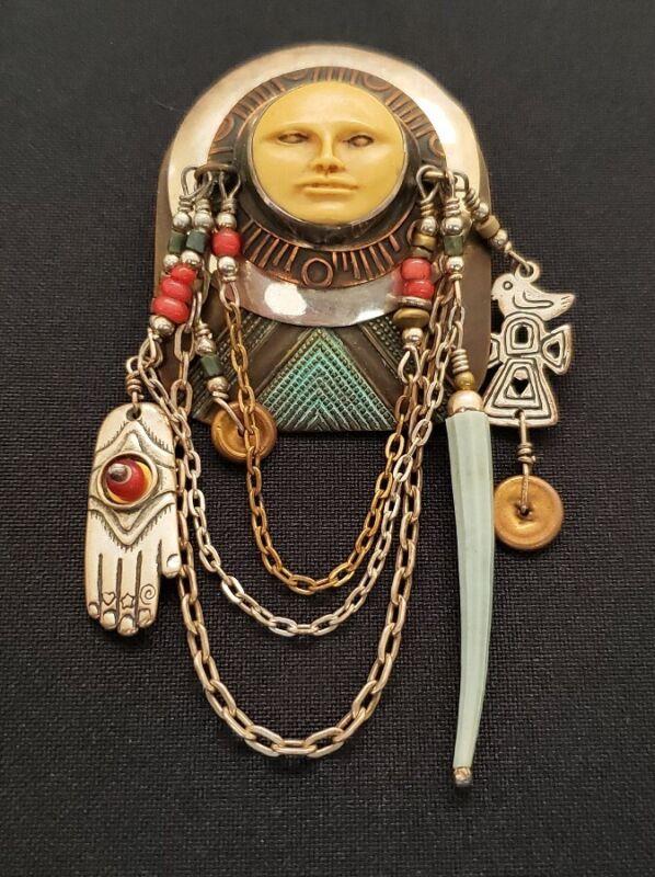 Vintage Balinese sterling silver goddess god fetish evil eye brooch pin