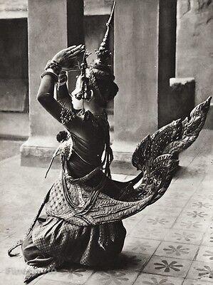 1934 Vintage 11x14 THAILAND ~ Kinnara Ballet Dancer Folk Costume Art ~ HURLIMANN