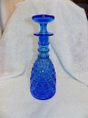 VINTAGE MID CENTURY MODERN DECANTER~BLUE GLASS~DIAMOND PATTERN~11