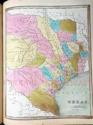 "1842 BRADFORD UNIVERSAL ILLUSTRATED ATLAS, ""REPUBLIC TEXAS MAPS"" RARE ANTIQUE"