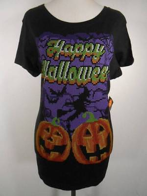 Halloween Tshirts Designs (Cool Women's Large No Brand Black w/ Multi-Color Halloween Design SS T-Shirt)