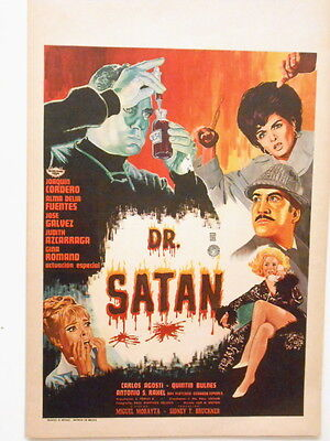 Dr. Satan   Window Card Poster Horror Zombies Vampires Mad Scientist  1966