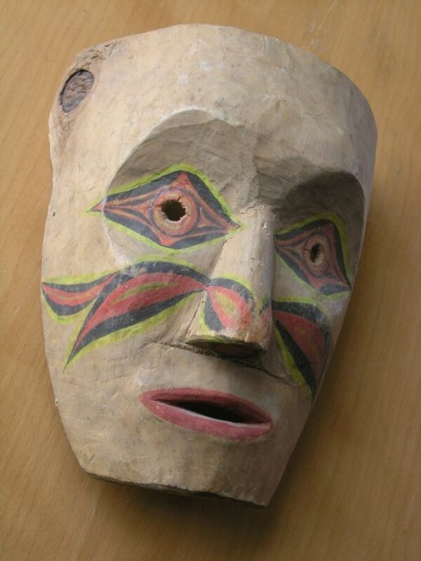 Vintage Northwest Coast Kispiox Hand Carved Hand Painted Mask Signed W G Jeffrey