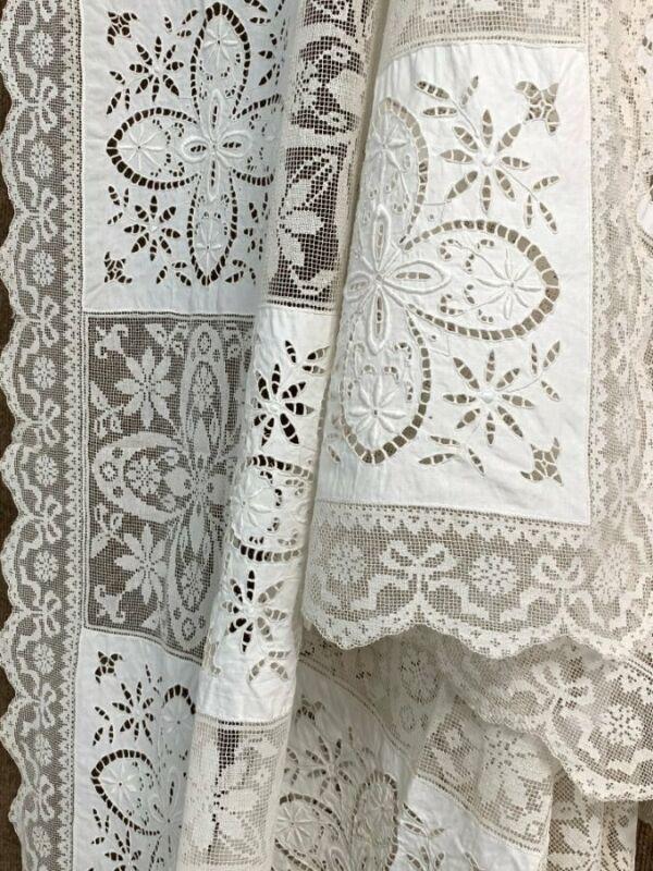 Elegant! Fancy Embroidered LACE Table Cloth Vintage Philadelphia PA Estate