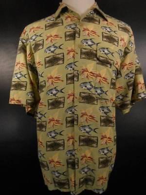 Beautiful Men's Large Exofficio Vented Multi-Color Fish Design SS Button Shirt ()