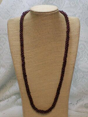 1930s Art Deco Style Jewelry VINTAGE NECKLACE~TINY GLASS WOVEN GARNET BEADS~FLAPPER~25
