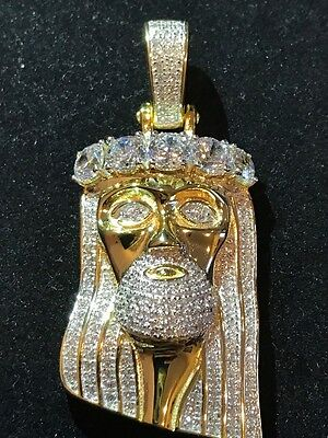 Jesus pieceebay 1 14k gold finish 925 silver 45ct simulated diamond jesus piece pendant 1x2 mozeypictures Image collections