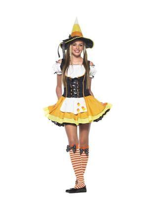 Teen Candy Kostüme (Kandy Korn Witch Teen Girls Costume Candy Corn Applique Fancy Dress Leg Avenue)