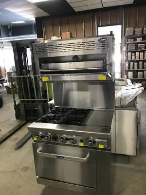 New 36 Range 4 Burners 12 Griddle 1 Full Oven Stove Salamander Top Natural Gas