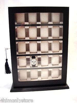 BLACK 20 LARGE WRIST WATCH JEWELLERY CABINET WOOD DISPLAY STORAGE CASE BOX