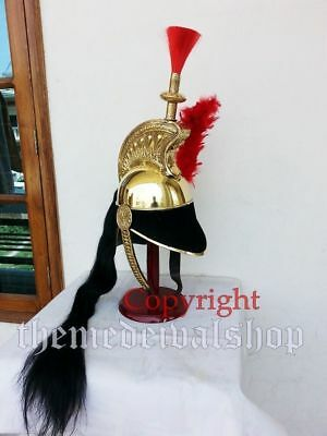 Brass French Cuirassier Officer's Helmet Napoleon Style Helmet on Wood Stand