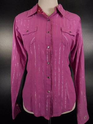 Beauty Violet 20 - Beautiful Women's Medium Wrangler 20X Tailored Fit Purple Striped Fitted Blouse