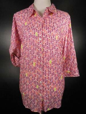 Beauty Violet 20 - Beautiful Women's 20X Catherines Pink & Purple Pineapple Design Button Blouse