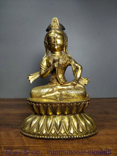 """11.2"""" Rare Old Chinese Copper Gilt Buddhism Kwan-yin Guan Yin Goddess Sculpture"""