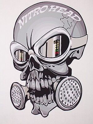 Nitro head Skull decal Decals Graphics Drag Racing NHRA Skulls