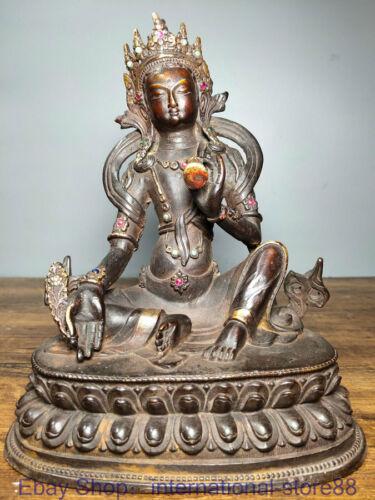 "9.6"" Old Chinese Copper Gilt Gems Buddhism Seat Green Tara Goddess Sculpture"