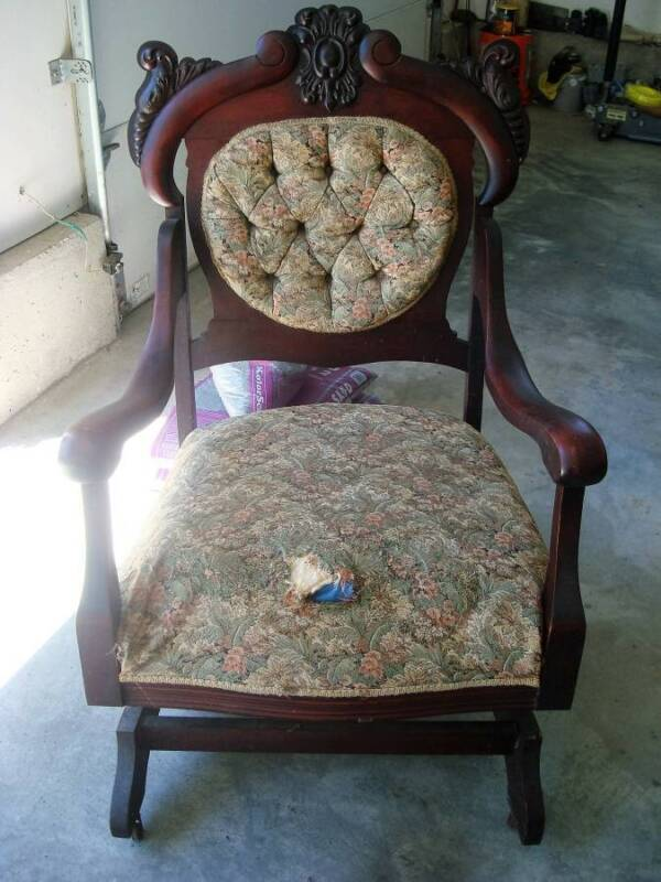 AWESOME ANTIQUE UPHOLSTERED WOODEN ROCKING CHAIR *****REDUCED*****