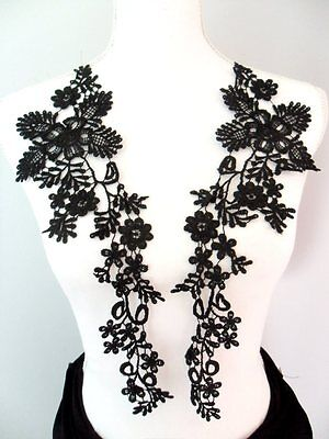 Lace Appliques Black Floral Embroidered Mirror Pair Costume Motifs 15