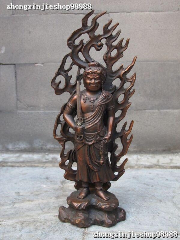 "11""Tibet Buddhist fane Red bronze Acalanatha Patron saint Buddha Statue"