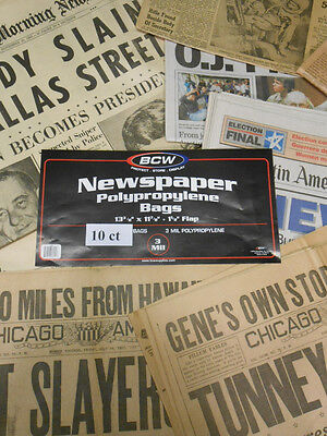 New Acid Free Newspaper Sleeves Archival Bags 13x11 78 10ct Free Shipping