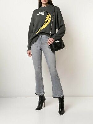 New RTA BRANDI High Rise Kick Flare Cropped Release Hem Jeans Graphite Gray 26