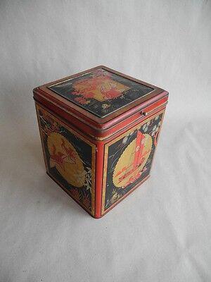 grosse alte Blechdose wohl Teedose mit China Japan Motiv und Kranichen