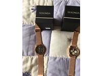 2 x Sekonda mens chronograph watches in rose gold with matcing straps.