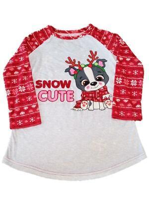 Girls Red & Grey Puppy Dog Snow Cute Soft Nightgown Sleep Dr